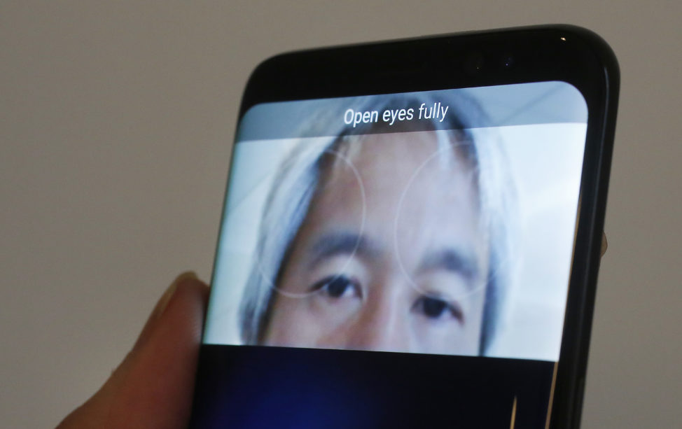 The iris scanner function of the Samsung Galaxy S8 is displayed, Monday, April 17, 2017, in New York. (AP)