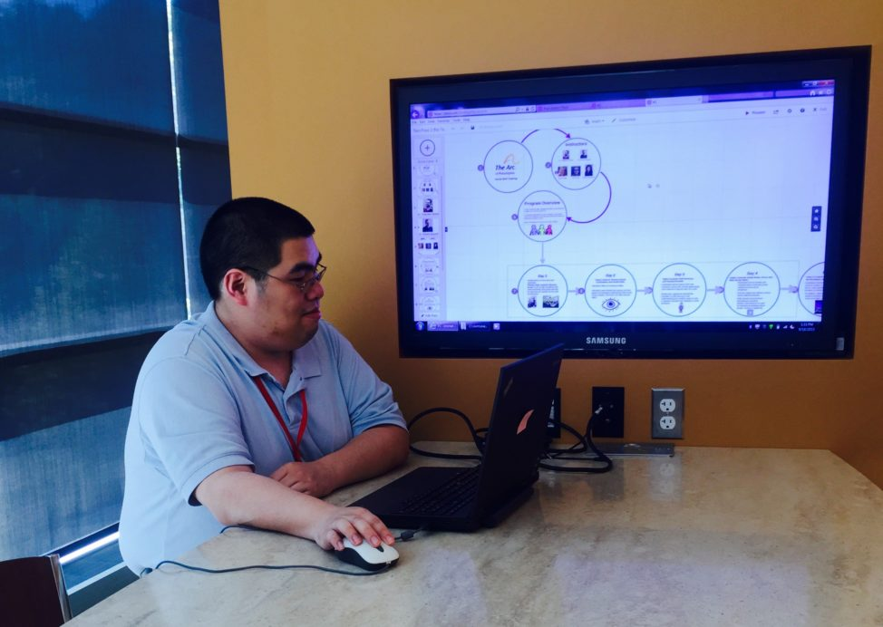 Jeff Wang, a SAP employee participating in the Autism at Work training program, learns how to use presentation tool Prezi and shares an overview of what he learned in training with a room full of managers. (SAP)