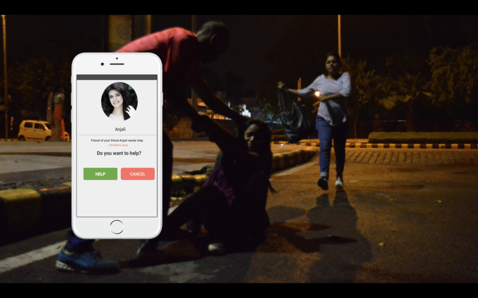 A screenshots from a recent CrowdGuard presentation shows the app's user interface. In cases of danger, the user gets an alert that displays information about another user in need of help. (CrowdGuard)