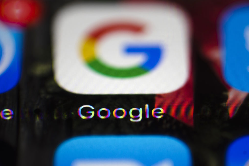 A Google icon is shown on a mobile phone in Philadelphia, April 26, 2017. (AP)