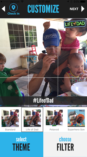 A screenshot from the Life of Dad app, showing various options to categorize uploaded content. (Life of Dad)