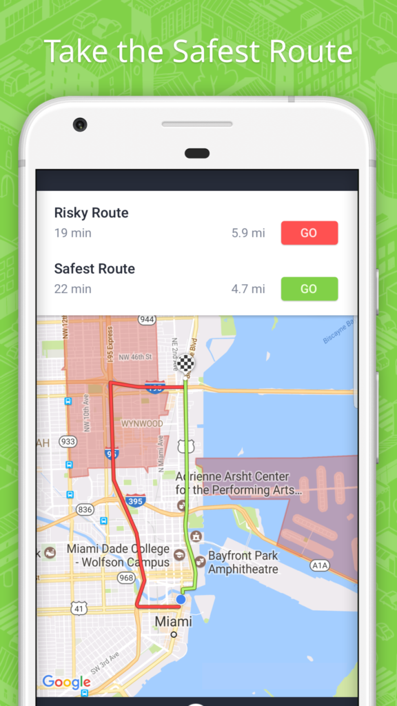 A ReZone app map shows users the safest route to take if they find themselves in a crisis situation. (RedZone)