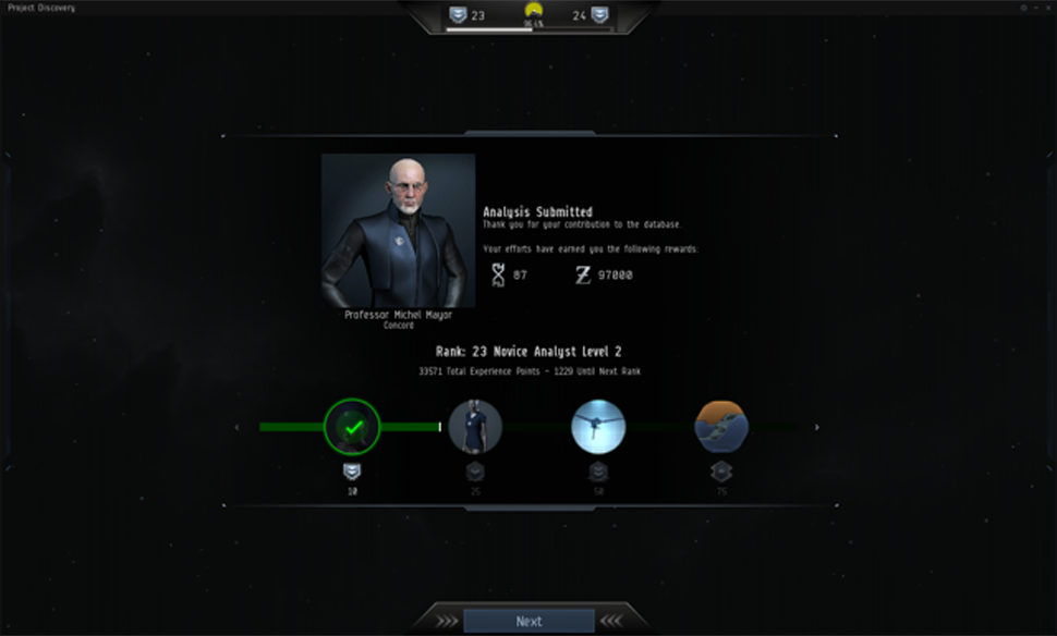 Dr. Michel Mayor greets players when they first launch the Discovery Project and introduces them to the program.When the research is done, players can open the rewards windows shown above to claim a variety of items. (Sverrir Magnússon, CCP Games)