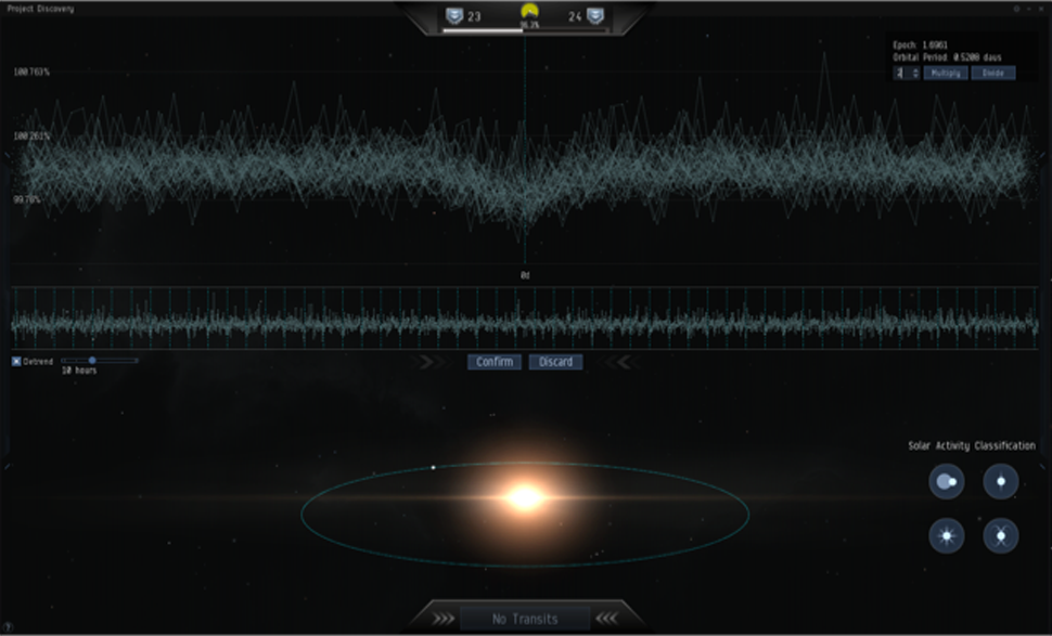 If a transit body is found, a Project Discovery player can mark the light curve, which shows the intensity of an object, with a period. In this screenshot, the transits align in a period of 0.5208, which means the player found a planet that orbits it's star every 0.5208 days. (Sverrir Magnússon, CCP Games)