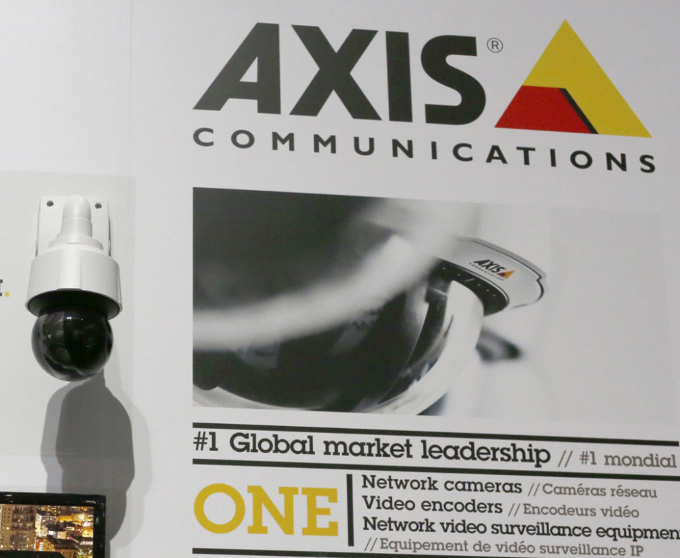 FILE - The logo of Axis Communications is shown n Paris, France. (Reuters)
