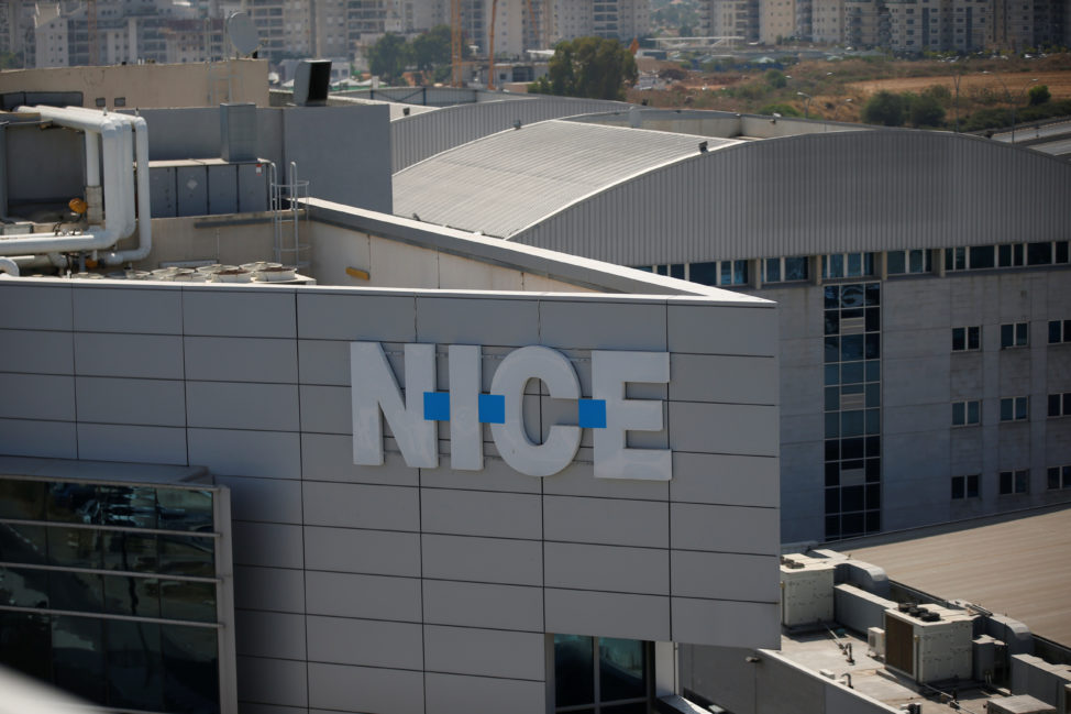 FILE - Logo of Israeli software provider NICE Systems is seen at their headquarters in Raanana, Israel. (Reuters)