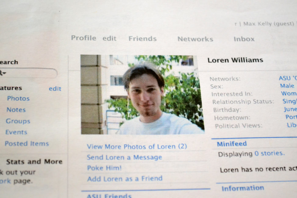 FILE - A printout of the Facebook page for Loren Williams, now deceased, at his mother's home in Beaverton, Ore., Feb. 16, 2013. (AP)
