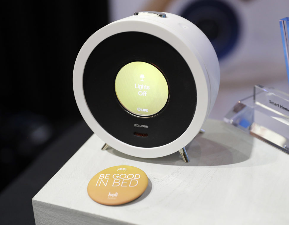 FILE - The Bonjour voice-controlled alarm and personal assistant is on display during CES Unveiled, Jan. 3, 2017, in Las Vegas. Jan. 3, 2017, in Las Vegas. (AP)