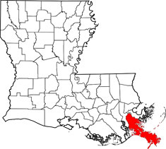 Plaquemines is the parish in the extreme lower right corner of Louisiana, sticking out into harm's way in the Gulf of Mexico.