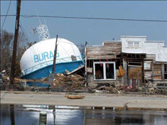 This water tower in the little Plaquemines town of Buras no longer stood high in the air after Katrina hit.