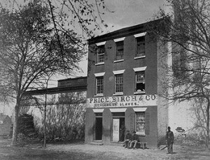 This was an Alexandria slave pen and auction house, photographed in 1862 after the Union Army had crossed the Potomac to occupy the city.  (Library of Congress)