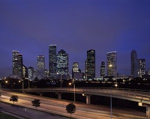 These are just two sides of a single Houston freeway, one of many that wind through and around the big, often hot, city.  But wait!  Are those fellow-polluting oak trees?  (Carol M. Highsmith)