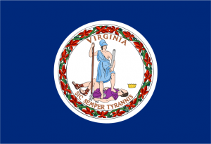 "The Latin motto meaning ""Thus Always to Tyrants!"" — the same words spoken by John Wilkes Booth after he fatally shot President Abraham Lincoln — appears on the Virginia flag, in which the goddess Virtus (Virtue) subdues a Tyrant."