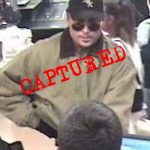 "This fellow, known as the ""Double Dip Bandit,"" was captured, as you see.  He got that name after a string of holdups in which he often went back to the same bank twice.  (Federal Bureau of Investigation)"