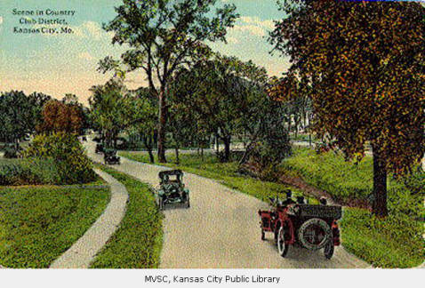 "J. C. Nichols's ""Country Club District"" extended from his new automobile-friendly shopping center in Kansas City, Missouri, across the river into Kansas City, Kansas. (Kansas City Public Library)"