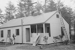 This is one of Greenbelt, Maryland's, mass-produced, steel-frame homes being erected in 1938. (Library of Congress)
