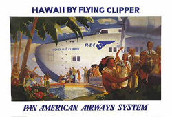 "Here's one of the promotional posters for Pan Am's ""China Clipper"" service across the Pacific.  These trips were luxurious, pampering, and mighty expensive.  Each ticket cost more than the average American's yearly salary. (Library of Congress)"
