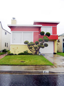 "This is a house in Daly City, California, which one observer called a ""surreal suburb"" of homes covering every hillside outside San Francisco. Nancy Reynolds has said that her mother, Malvina, got the idea for her ""Little Boxes"" song while driving through Daly City. (Telstar Logistics, Flickr Creative Commons)"