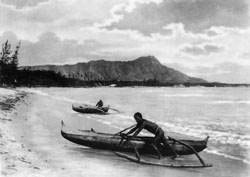 This are small outrigger canoes, coming ashore in Hawai'I in 1922.  The protruding, wooden pontoons, for lack of a better word, help keep the canoes upright in heavy seas. (Library of Congress)