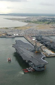 The U.S.S. John F. Kennedy docks at Naval Base Norfolk, home of the United States Fleet Forces Command.  (U.S. Navy)