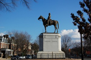 "This tribute to Gen. Thomas ""Stonewall"" Jackson, the Confederate hero of several Civil War battles, is one of six statues on Richmond's Monument Avenue — the only complete street in the United States that is a National Historic Landmark.  (b_watkins, Flickr Creative Commons)"