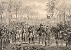 In this 1885 chromolithograph, Robert E. Lee, left center, surrenders his Confederate army to victorious Union general Ulysses S. Grant at Appomattox.  Grant gracefully declined to accept Lee's sword, as was the custom.  (Library of Congress)