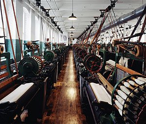 Fortunately the exquisitely restored Boott Cotton Mill, part of the Lowell National Historical Park that preserves some of the artifacts from Massachusetts' days as the nation's textile giant, is still going strong. (Carol M. Highsmith)