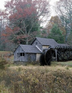 Mabry Mill, a restored 1910 gristmill, sawmill, and blacksmith shop, sits right on the Blue Ridge Parkway.  Old-timey skills such as weaving and seat caneing are demonstrated there each weekend, at least until mountain snows bury the place.  (Carol M. Highsmith)