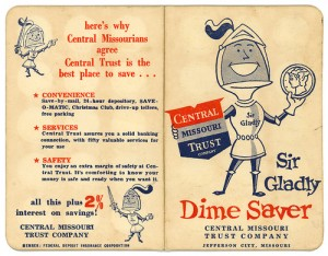 "I don't think ""Sir Gladly"" was on my coin-saver book when I was little in Ohio, but there was probably some other cute little image to encourage me to keep the dimes coming.  (Neato Coolville, Flickr Creative Commons)"