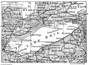 Thought you'd like to see part of an old — 1906 — map of Lake Erie and environs.  (The lake hasn't moved since.) That's Ohio, all right, right below it. (Probert Encyclopedia)