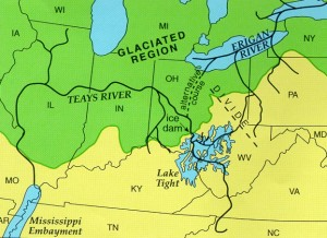 "More maps!  This one shows the progression of glaciers almost all the way south to Kentucky.  And where there were glaciers — at least below northern Canada — there would be melting, leaving behind ""glacial puddles,"" or what we call lakes.  (Ohio Dept. of Natural Resources)"