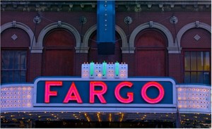 Like North Dakota's largest town itself, the Fargo Theater sign stands out.  Once a steamboat center on the Red River, Fargo and its Minnesota sister city, Moorhead, form the economic hub of a huge rural region.  (Carol M. Highsmith)