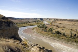 Lewis and Clark and their Indian guides followed this river — the Little Missouri — out of South Dakota, across southwest North Dakota, and into Montana. (Carol M. Highsmith)