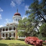 Longwood in Natchez has the beautiful white columns that are common in antebellum mansions.  What's uncommon are the manor home's octagonal shape and onion-shaped dome.  (Carol M. Highsmith)
