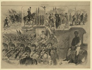 """The Battle Hymn of the Republic"" was one of the ""Songs of War"" depicted in a print by Winslow Homer for ""Harper's Weekly"" magazine in 1861. (Library of Congress)"