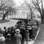 Just as in 1927 when this photo of a long White House tour queue was taken, such tours are still free.  But they are limited to those with tickets, obtained through members of Congress.  And security is a LOT tighter.  (Library of Congress)