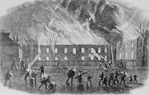 After John Brown and his men were either flushed out of the Harpers Ferry arsenal or killed, the building burned to the ground. (Library of Congress)