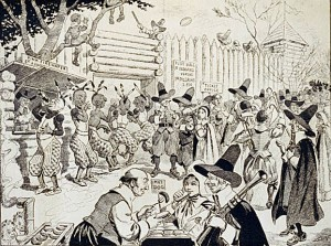 "The First Thanksgiving isn't just misrepresented.  Sometimes it's even ridiculed. This caricature shows Pilgrims eating hot dogs and Indians drinking ""firewater."" Note the sign that reads, ""foot ball ye Indians versus ye Pilgrims 2 p.m."" (Library of Congress.)"