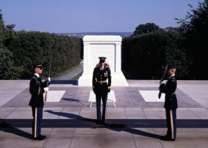Guards change at the Tomb of the Unknowns once every half hour during the daytime — once an hour overnight and in the wintertime.  (Carol M. Highsmith)