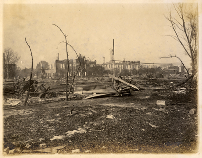 There wasn't much left of Lake Charles after a ferocious fire in 1910. (Photograph Collection, Archives and Special Collections Department, Frazar Memorial Library, McNeese State University.)