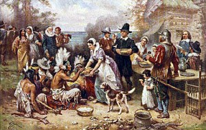 In 1932, Jean Leon Jerome created this highly romanticized, and terribly inaccurate, painting of the First Thanksgiving. (Library of Congress)