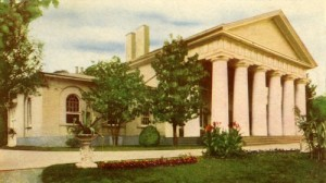 "This is an old postcard view of the place that Robert E. Lee called ""Arlington House"" — also often referred to as the ""Lee-Custis Mansion.""  It was built by George Washington Parke Custis in memory of his great-stepgrandfather, President George Washington.  (Library of Congress)"
