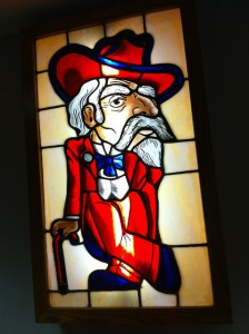 """Colonel Reb"" may have been booted out as the University of Mississippi sports mascot, but his visage remains all over Oxford — even in stained glass.  (Sean Davis, Flickr Creative Commons)"