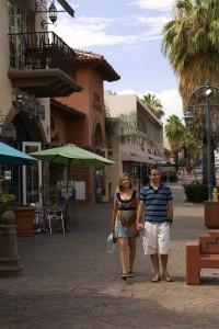 Pedestrian-friendly downtown Palm Springs has a Mediterranean feel. (Palm Springs Bureau of Tourism)