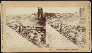 "Another stereopticon view, of Confederate dead where they fell in ""Bloody Lane.""  (Library of Congress)"