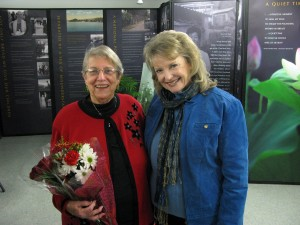 That's grown-up Zuzu, Karolyn Grimes, on the right, with this year's Bailey Award winner, 86-year-old Anita Awaduti.  The award is presented by the IDEA Center for the Voices of Humanity, which shares the old Seneca Theater building with the new Seneca Falls It's a Wonderful Life Museum.  (Henry Law)