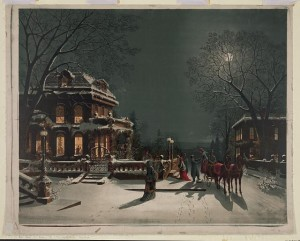 A vintage card depiction of Christmas Eve.  (Library of Congress)