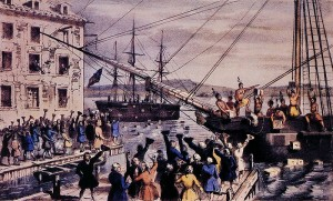 "Nathaniel Currier created this ""Destruction of Tea at Boston Harbor"" lithograph in 1846. (Wikipedia Commons)"
