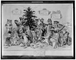 Sometimes, a family got help trimming the tree.  (Library of Congress)