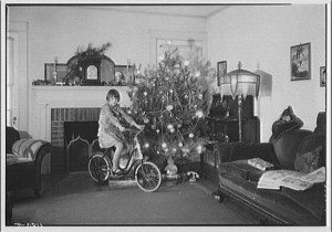 Not too many presents were opened in this house, it would appear.  But one was probably especially treasured.  (Library of Congress)